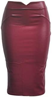Falda de Lápiz para Mujeres Bodycon Tubo Cuero de Imitación Faldas