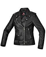 Bohmberg Premium Chaqueta de cuero atractiva para mujer - Cuero 100% real-para motociclistas-cuero pesado - XL