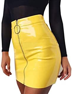 Carolilly Minifalda de Mujer con Cremallera Falda de Cintura Alta Lápiz Corto Elegante Moda