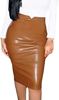 BoBoLily Faldas Midi Mujer Elegante Otoño Invierno Falda Cuero Tubo Polares Cintura Alta Slim Color Sólido