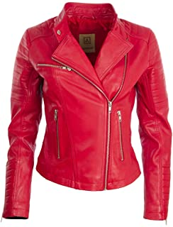 Aviatrix Chaqueta Cuero Genuino de la Mujer color rojo de solapas