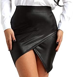 CHICTRY Falda Corta Cuero de Imitación Mujer Negra A-Line Mini Falda Lápiz Cintura Alta Wetlook Slim Bodycon Latex Clubwear Sexy Adulto