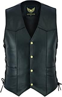 Leatherick Chaleco de Piel de Vacuno para Hombre con Cordones Laterales, Color Negro