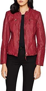 chaqueta de cuero roja mujer chica
