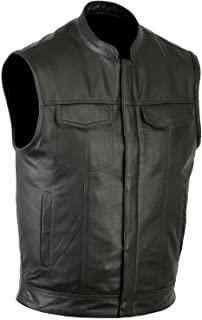 Cuir Vest Chaleco SOA para Hombre Estilo Club de Cuero con Bolsillos Ocultos para Pistola, Chaleco de Motorista de Cuero Genuino, Panel Posterior único