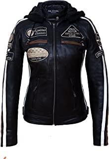 Urban Leather 58 Leren Bikerjack, Chaqueta de Moto para Mujer, Negro