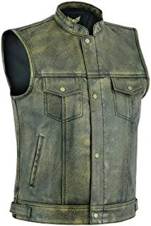 Leatherick Chaleco de cuero envejecido para motociclista, para hombre, diseño de los Hijos de la Anarquía