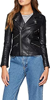 ONLY Onlrocky L/s Leather Jacket Acc, Chaqueta Mujer, Negro (Schwarz), 40 (Talla del fabricante: 38)