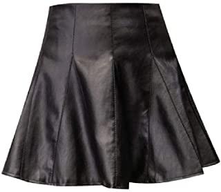 NObrand Otoño Vintage Mujer Falda Plisada Sexy Cintura Alta Faldas de Cuero Negro PU Mini Faldas Cortas Vintage