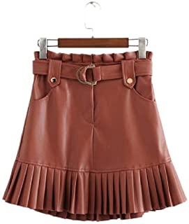 NObrand Minifalda Elegante de Cuero de la PU con cinturón Faldas de Dobladillo Plisado de Cintura Alta Fiesta Informal de Calle