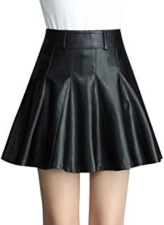 Quge Faldas para Mujeres A Línea Mini Falda Plisadas De Cuero PU con Cintura Alta
