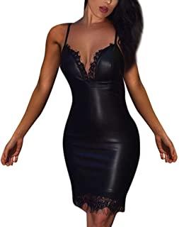 Vectry Vestidos De Cuero Sexys Vestidos Sexy Mujer Vestido con Escote Vestidos De Tirantes Vestidos Niña Vestido para Boda Largo Vestidos 2020