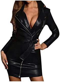 ALISIAM Mini Vestido de Cuero sintético de Mujer Sexy para Mujer de Manga Larga Clubwear cinturón Vestido de Moda Bolsillos Delgados Blusa Tops Camisas Vestido de Fiesta