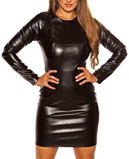 vestido de cuero negro zara
