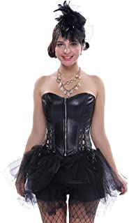 Vestido De Ramillete De Steampunk Gótico Mujer De Falda Cuero Ropa Festiva De Imitación Mini Falda Enagua Corsé Moda Entrenamiento De La Cintura De La Vendimia Vestido De Corsé Tallador Bustier