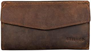 STILORD 'Gloria' Billetera de Piel Mujer RFID Bloqueo Vintage Cartera para Señora Monedero con 14 Tarjetas Billetes y Monedas con Caja de Regalo, Color:marrón - Medio