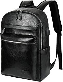 VBIGER Mochila Portatil Cuero PU de Moda 15,6 Pulgadas Mochila Negocios Viaje con Puerto USB (Negro2) 2020 mochila de cuero negro zara 2020