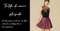 falda de cuero plisada
