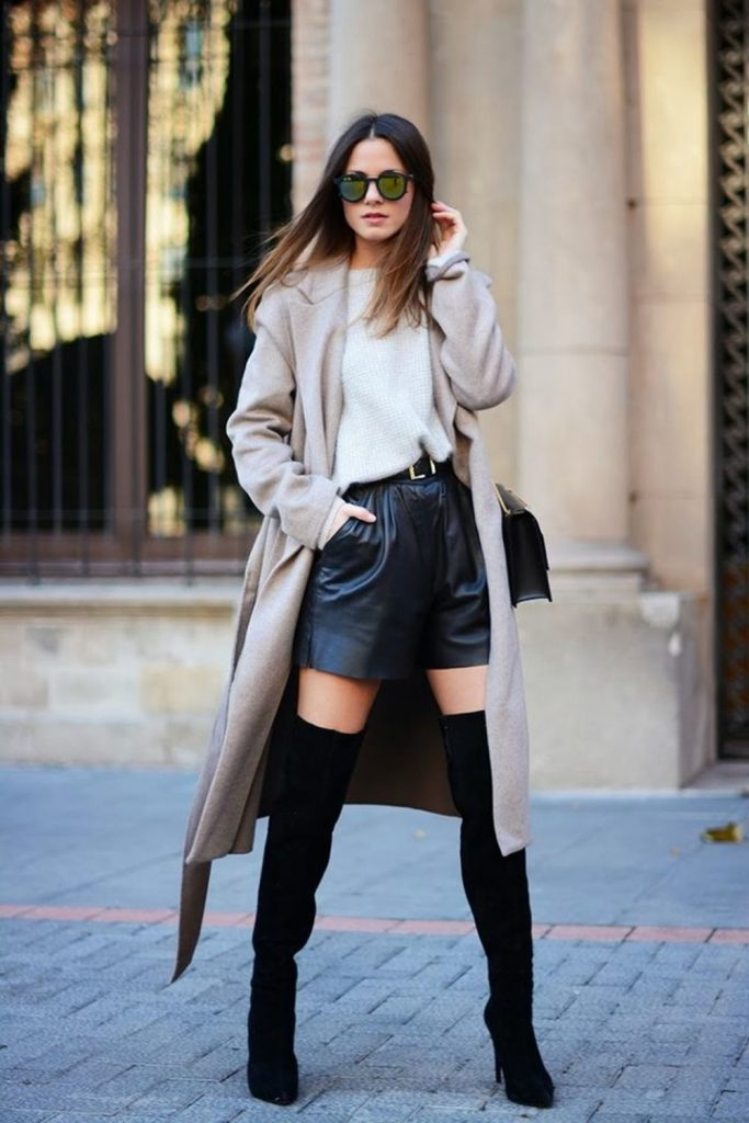 shorts de moda cuero