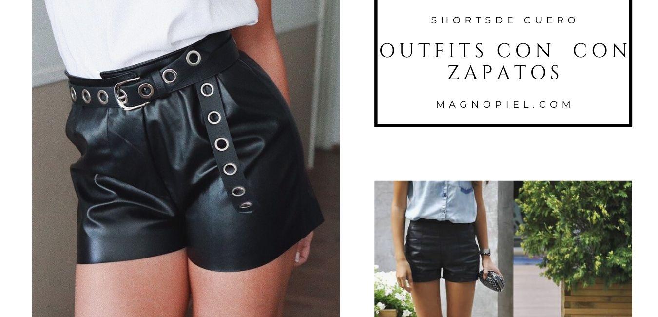 shorts de cuero outfits